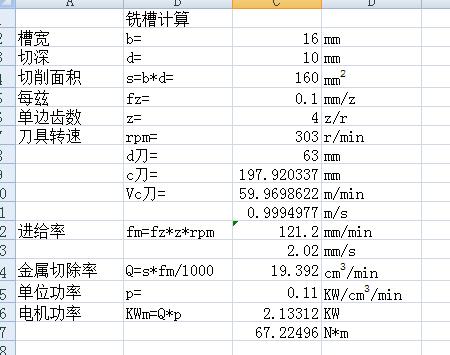 4.铣槽切削力计算