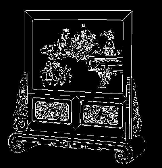 清代红木嵌螺钿三星图插屏