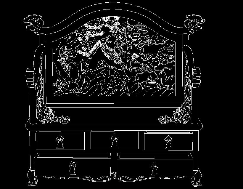 清代紫檀镂雕一品清廉纹镜台