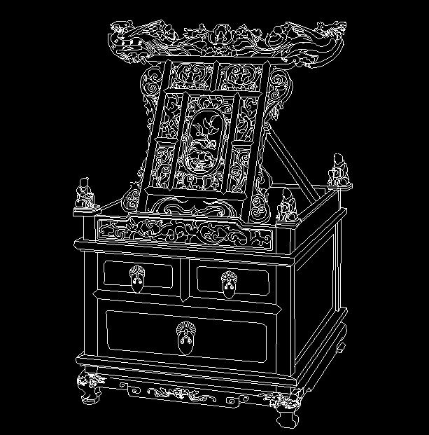 明代宁式黄花梨镜台