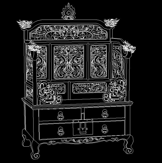 明代黄花梨宝座式镂雕龙纹镜台
