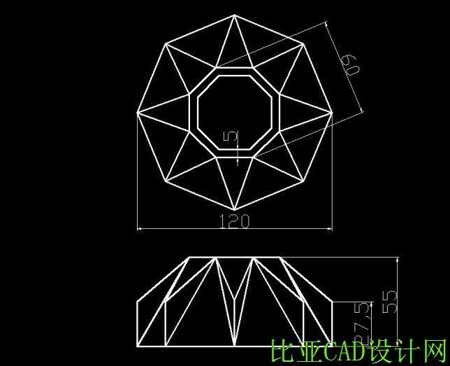 (第三角画法)轮廓边角,星形体,三